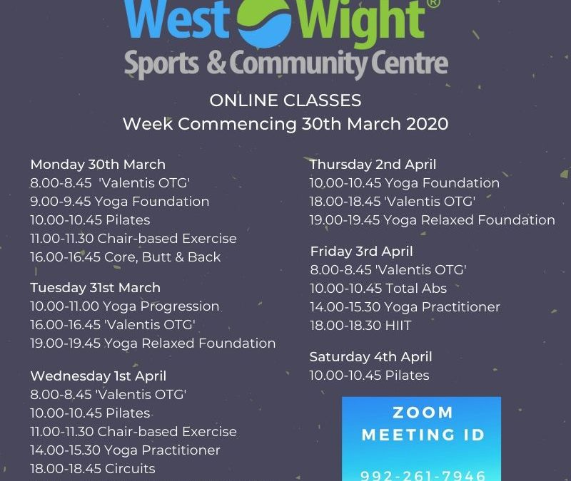 Online Classes – Week Commencing 30th March 2020