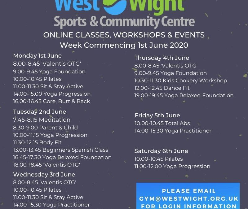 Online Classes & Workshops – week commencing 1st June 2020