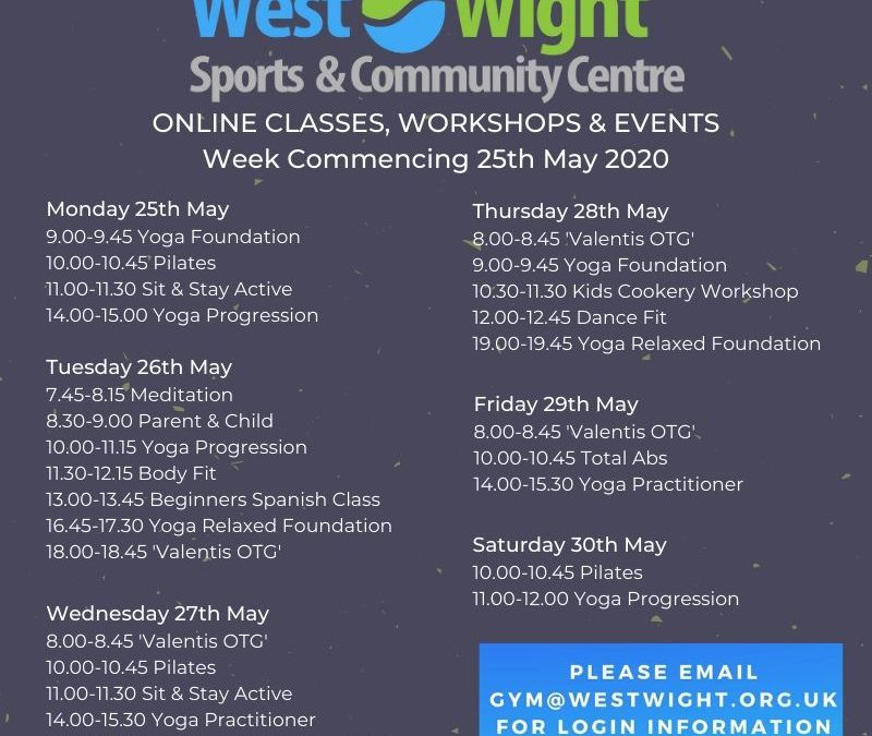 Online Classes & Workshops – week commencing 25th May 2020