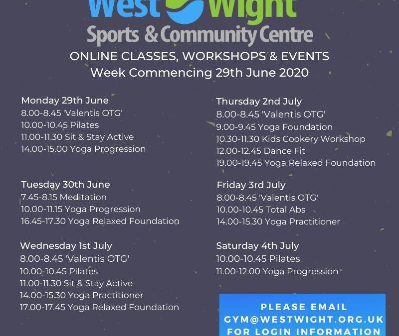 Online Classes & Workshops – week commencing 29th June 2020
