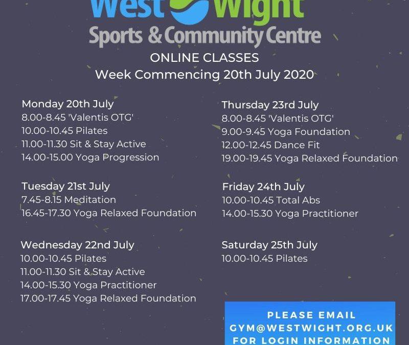 Online Classes & Workshops – week commencing 20th July 2020