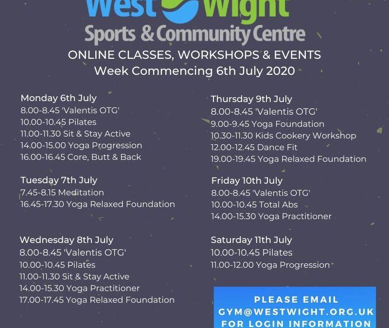 Online Classes & Workshops – week commencing 6th July 2020